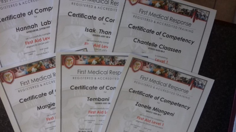 First Aid Training Certificates of Competency