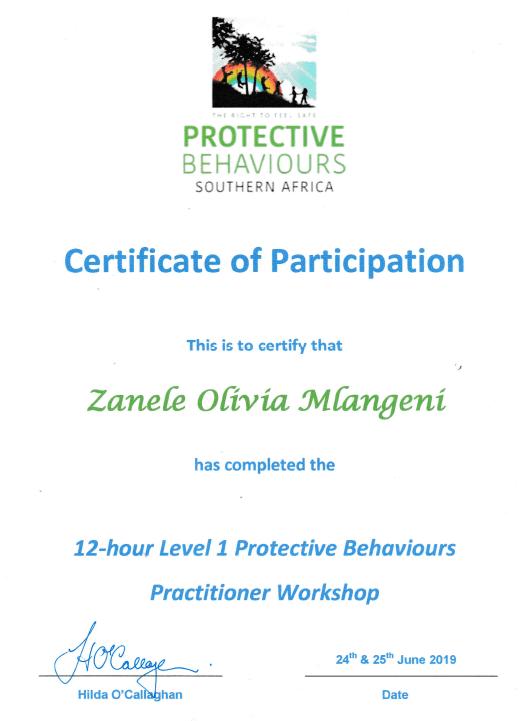 Certificate Of Participation Zanele